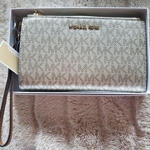 Michael Kors Gold Metallic Wristlet Wallet
